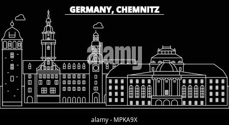 Chemnitz silhouette skyline. Germany - Chemnitz vector city, german linear architecture, buildings. Chemnitz travel illustration, outline landmarks. Germany flat icon, german line banner - Stock Photo