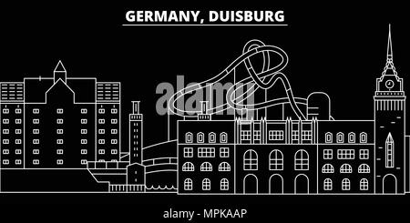 Duisburg silhouette skyline. Germany - Duisburg vector city, german linear architecture, buildings. Duisburg travel illustration, outline landmarks. Germany flat icon, german line banner - Stock Photo