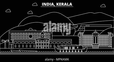 Kerala silhouette skyline. India - Kerala vector city, indian linear architecture, buildings. Kerala travel illustration, outline landmarks. India flat icon, indian line banner - Stock Photo