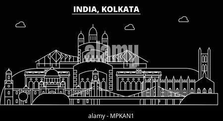 Kolkata silhouette skyline. India - Kolkata vector city, indian linear architecture, buildings. Kolkata travel illustration, outline landmarks. India flat icon, indian line banner - Stock Photo