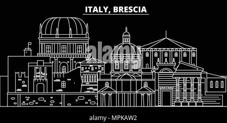 Brescia silhouette skyline. Italy - Brescia vector city, italian linear architecture, buildings. Brescia travel illustration, outline landmarks. Italy flat icon, italian line banner - Stock Photo