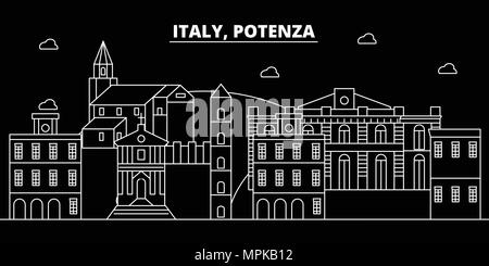 Potenza silhouette skyline. Italy - Potenza vector city, italian linear architecture, buildings. Potenza travel illustration, outline landmarks. Italy flat icon, italian line banner - Stock Photo