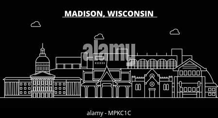 Madison silhouette skyline. USA - Madison vector city, american linear architecture, buildings. Madison travel illustration, outline landmarks. USA flat icons, american line banner - Stock Photo