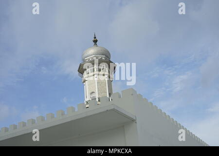 Baiturrahman grand mosque Tower view from bellow located in Banda Aceh, capital city of Aceh - Indonesia - Stock Photo
