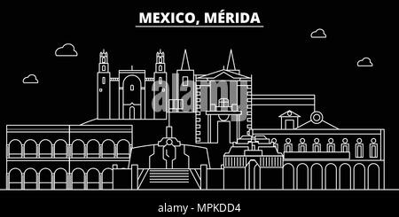 Merida silhouette skyline. Mexico - Merida vector city, mexican linear architecture, buildings. Merida line travel illustration, landmarks. Mexico flat icons, mexican outline design banner - Stock Photo