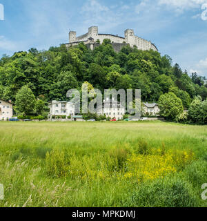 Medieval fortress of Hohensalzburg sits atop Festungsberg hill in the city of Salzburg, Austria. - Stock Photo