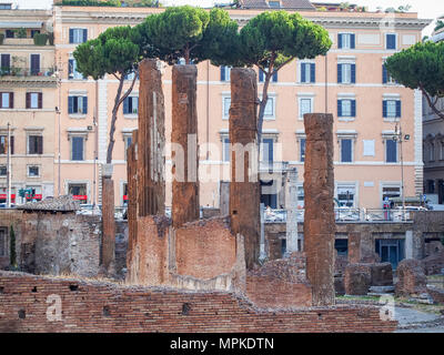 ROME, ITALY-JULY 19, 2016: Remains of Temple B, dedicated to Fortuna Huiusce Diei at Largo di Torre Argentina in Rome, Italy - Stock Photo