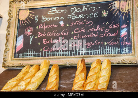 Montreal Canada Vieux Montreal rue Saint Paul Marche de La Villette restaurant bread loaves chalkboard menu - Stock Photo