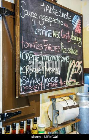 Montreal Canada Vieux Montreal rue Saint Paul Marche de La Villette restaurant chalkboard menu - Stock Photo