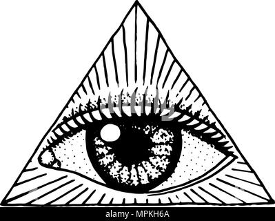 Face Detailed Seeing Eye In The Triangle Fashion Tattoo Artwork
