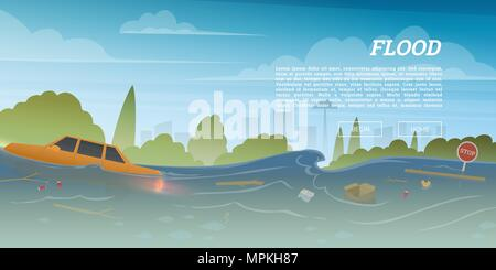 Flood or natural disaster in city concept. Floating garbage and car during deluge in high water, overflow and big waves. Time of evacuation during cataclysm. Landscape Background for poster or card. - Stock Photo