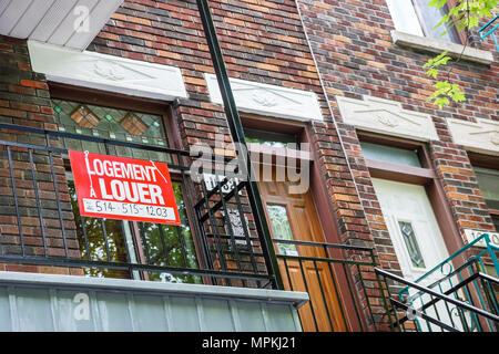 Montreal Canada rue de Brebeuf rental housing sign townhouse apartments - Stock Photo