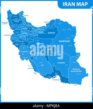 The detailed map of Iran with regions or states and cities, capital. Administrative division. - Stock Photo