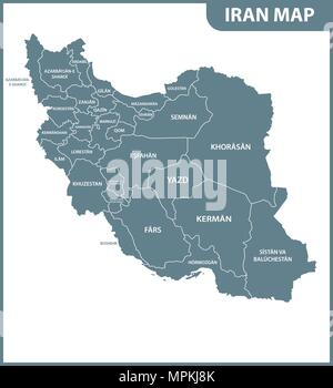 The detailed map of Iran with regions or states. Administrative division. - Stock Photo