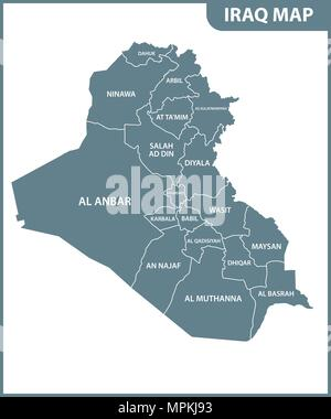 The detailed map of Iraq with regions or states. Administrative division. - Stock Photo