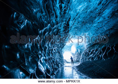 These magnificent ice caves are only accessible by three hour hike on foot. There are several ice cave excursions offered by local guides. - Stock Photo