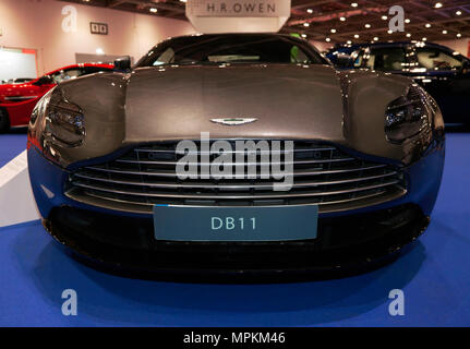 Close-up front view of an Aston Martin DB11, on display at the H.R. Owen Stand, of the  2018 London Motor Show - Stock Photo