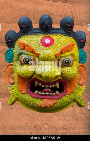 Traditional Hindu Masks on sale in tourist stall, Swayambunath or Monkey Temple, Kathmandu, Nepal, Asia - Stock Photo