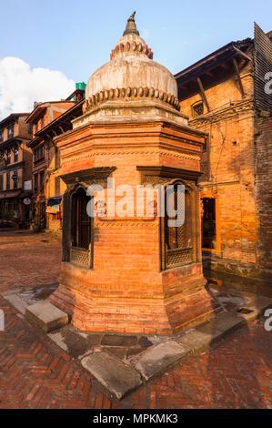 Taumadhi Tole square, Unesco World Heritage Site, Bhaktapur, Nepal - Stock Photo