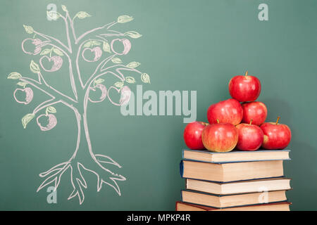 Education concept with apples and illustration of Apple tree on blackboard - Stock Photo