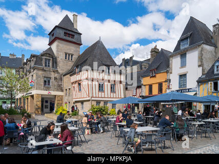 Cafe in Place Terre au Duc in the old town, Quimper, Finistere, Brittany, France - Stock Photo