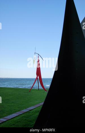 Joan Miro statues by the sea, Louisiana Museum of modern art, Denmark - Stock Photo