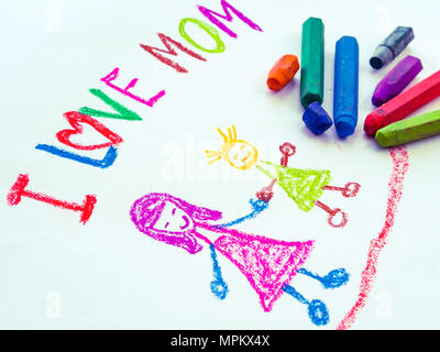 Kid drawing of mother holding her daughter for happy mother's day theme - Stock Photo