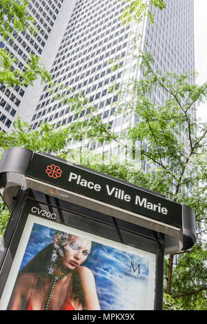 Montreal Canada Place Ville Marie kiosk advertising high rise office building - Stock Photo
