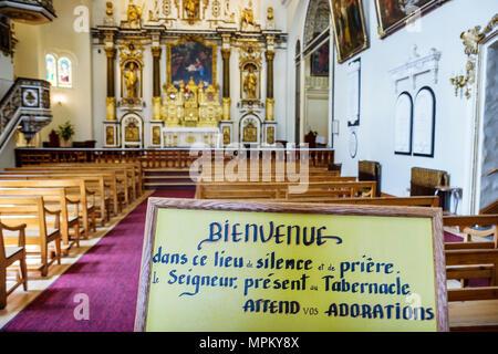 Quebec City Canada Upper Town Rue Donnacona Chapelle des Ursulines sign altar chapel church - Stock Photo