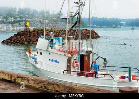 Newport, Oregon,USA - August 23, 2016: Captain of fishing boat guides his craft into the Harbor in Newport, Oregon.  His deck hand is seen working wit - Stock Photo