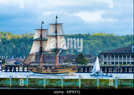 Newport, Oregon,USA - May 25, 2016: Tall ship Lady Washington sails out into Yaquina Bay and joined by other smaller sailing boats in Newport Oregon - Stock Photo