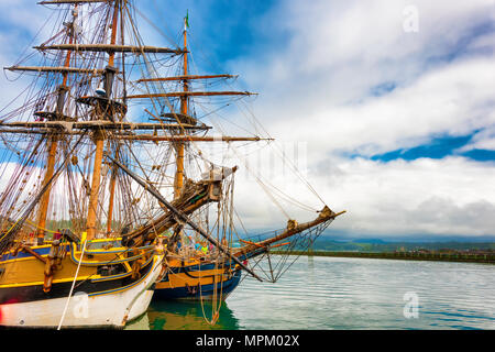 Newport, Oregon,USA - May 25, 2016: Bows of docked tall ships, Lady Washington and Hawaiian Chieftain in Yaquina Bay Marina in Newport, Oregon - Stock Photo