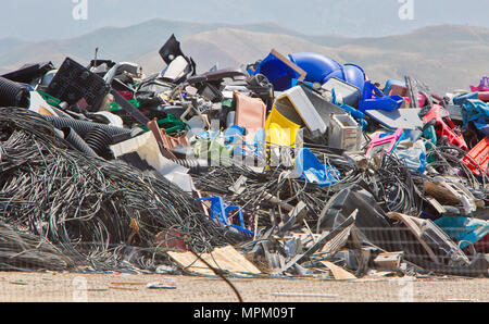 Recycling discarted plastic products, sanitary landfill. - Stock Photo