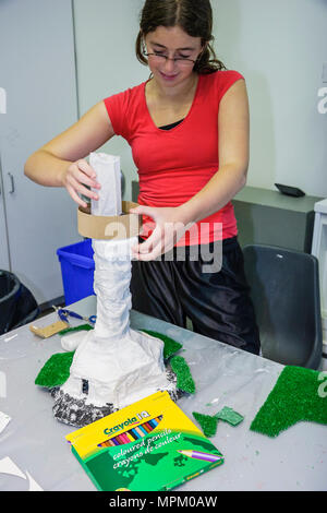 Quebec City Canada Musee National des Beaux Arts museum art class paper Mache lighthouse female student - Stock Photo