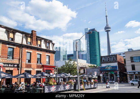 Canada, Toronto, Queen Street West, trendy neighborhood, corner, historic building, 1886, Black Bull Tavern, restaurant restaurants food dine dining e - Stock Photo