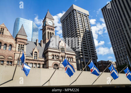 Toronto Canada Ontario Old City Hall historic municipal building landmark National Historic Site view from Nathan Phillips Squar - Stock Photo