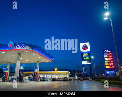 Bangkok, Thailand - June 23, 2017: PTT gas station. PTT Public Company Limited or simply PTT is a Thai state-owned SET-listed oil and gas company.Form - Stock Photo