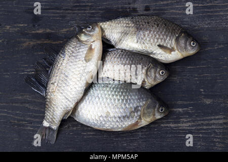 Just caught freshwater fish on a wooden table - Stock Photo