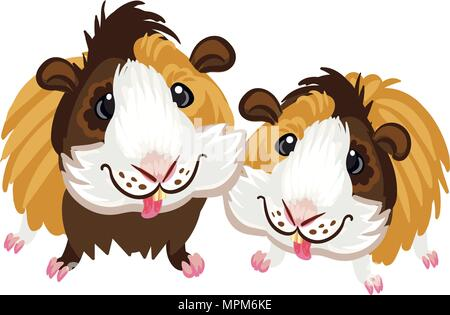 Guinea pig little cute homemade cartoon fun art piggy clipart - Stock Photo