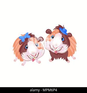 funny cartoon funny Guinea pigs clipart illustration vector - Stock Photo