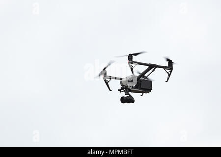 Professional drone Inspire 2 flying in the sky. 20.05.2018, Rostov Region, Russia - Stock Photo