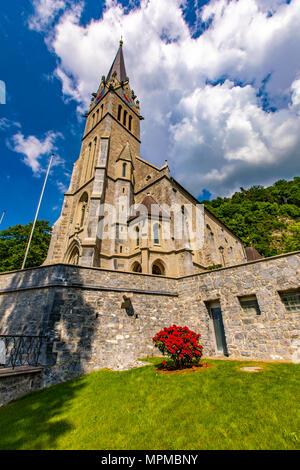 Vaduz cathedral of Saint Florin in Liechtenstein - Stock Photo