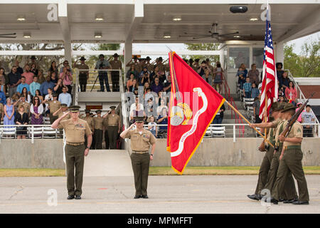 Maj. Gen. Niel E. Nelson, left, U.S. Marine Corps Forces Europe and Africa commander, salutes during the pass in review of Mike Company, 3rd Recruit Training Battalion, and November Company, 4th Recruit Training Battalion, March 31, 2017, on Parris Island, S.C. Nelson was the parade reviewing official of the graduation ceremony for Mike and November Companies. (Photo by Cpl. Vanessa Austin) - Stock Photo