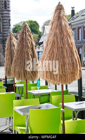 Empty terrace cafe in Yport, Normandie, France - Stock Photo