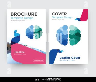free brain brochure flyer design template with abstract photo background, minimalist trend business corporate roll up or annual report - Stock Photo