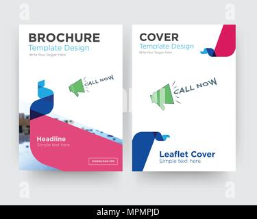 call now brochure flyer design template with abstract photo background, minimalist trend business corporate roll up or annual report - Stock Photo