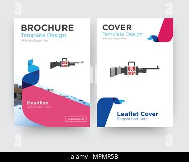 gun shop brochure flyer design template with abstract photo background, minimalist trend business corporate roll up or annual report - Stock Photo