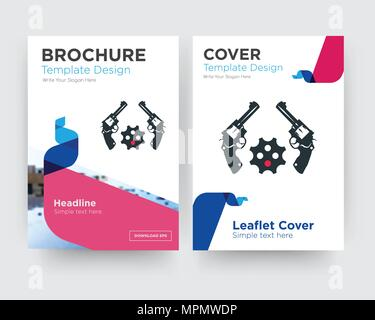revolver brochure flyer design template with abstract photo background, minimalist trend business corporate roll up or annual report - Stock Photo