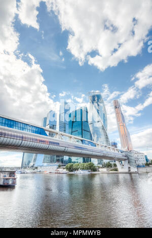 Bridge Bagration through the Moscow River against the backdrop of skyscrapers Moscow City - Stock Photo