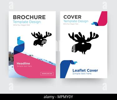 elk brochure flyer design template with abstract photo background